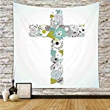 iPrint Polyester Tapestry Wall Hanging,Baptism,Cross Made from Flowers Blessing Blossom newborn Catholic Party Illustration,Seafoam Avocado Green,Wall Decor for Bedroom Living Room Dorm