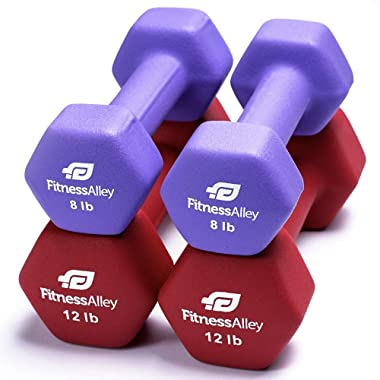 Fitness Alley Neoprene Dumbbells - Free Weights Hex Hand Weights - Dumbbell Pairs Combo Set