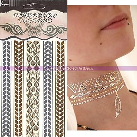 Tattoo Metal Fátima de Luna dormida, estrella dorado plata, tabla ...