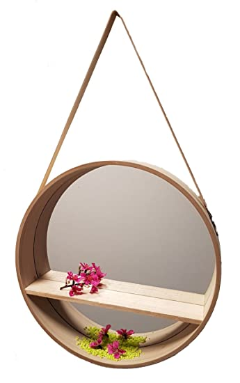 Design Wandspiegel Rund 40 Cm Holz Badspiegel Flurspiegel Spiegel Mit Ablage