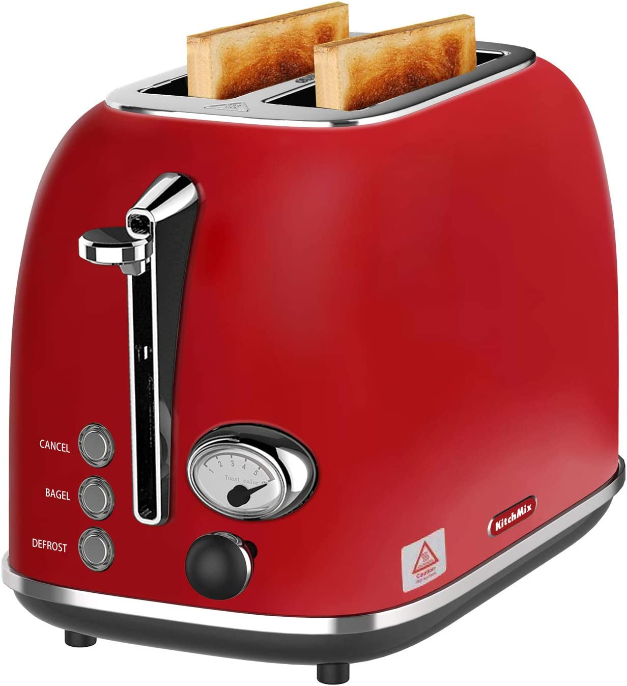 2 Slice Toaster, KitchMix Retro Stainless Steel Bread Toasters with 6 Settings, 1.5 In Extra Wide Slots, Bagel/Defrost/Cancel Function, Removable Crumb (Red)