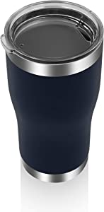 YESSIR 22oz Stainless Steel Tumbler 1 Pack Gifts In Bulk, Reusable Double Wall Vacuum Insulated Travel Mugs with Lid,Powder Coated Coffee Cups for Ice Drink, Hot Beverage (Navy,1)