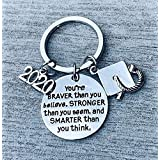 2020 Graduation Keychain, Inspirational You're Braver Than You Believe, Stronger Than You Seem & Smarter You Think Jewelry, Graduation Gifts for Graduates