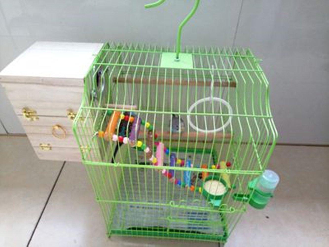 YJJKJ Pet Bird Wood Breeding Box Parakeet Budgie Cockatiel Breeding Nesting Bird Aviary Cage Box