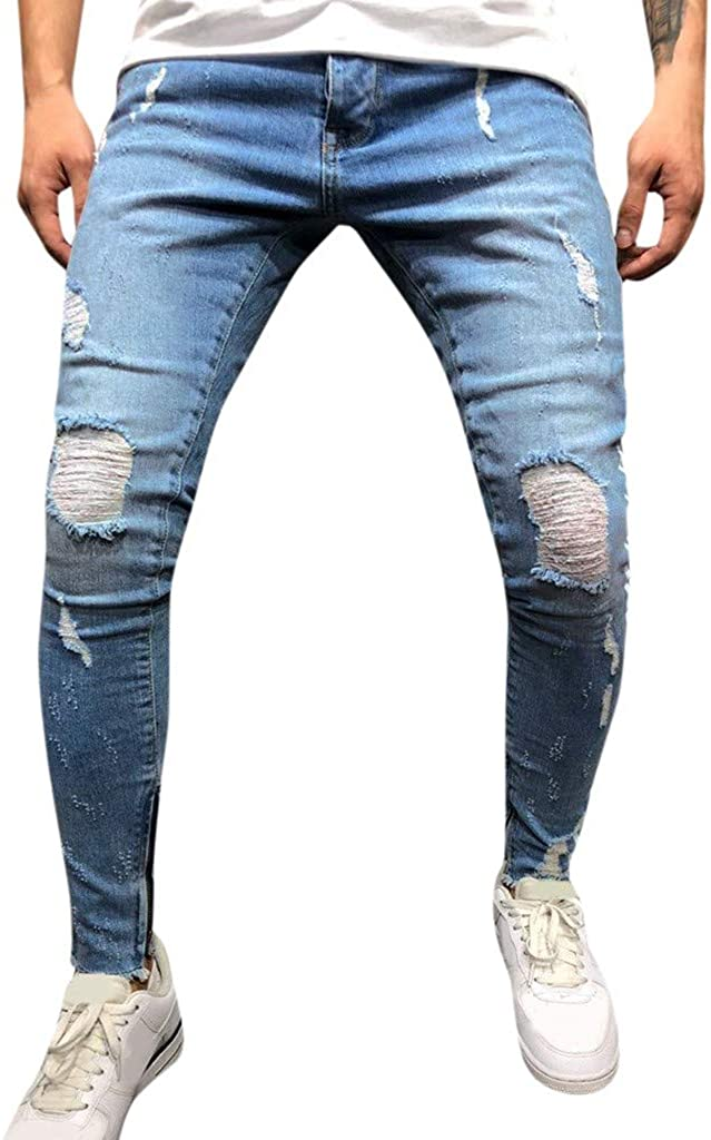 Pantalones Vaqueros para Hombre Casuales Moda Pantalones Vaqueros Rotos Hombre Jeans Trend Largo Pantalones Pants Skinny Pantalon Ropa Fitness Hombre Jeans Largos Pantalones vpass