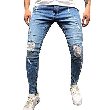 Modaworld Vaqueros Hombre Rotos Slim Fit Pantalón Casual De ...