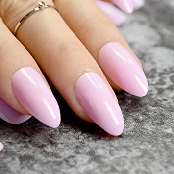 Amazon.com : Matte Soft Pink Stiletto Fake Nails Almond Pointed ...