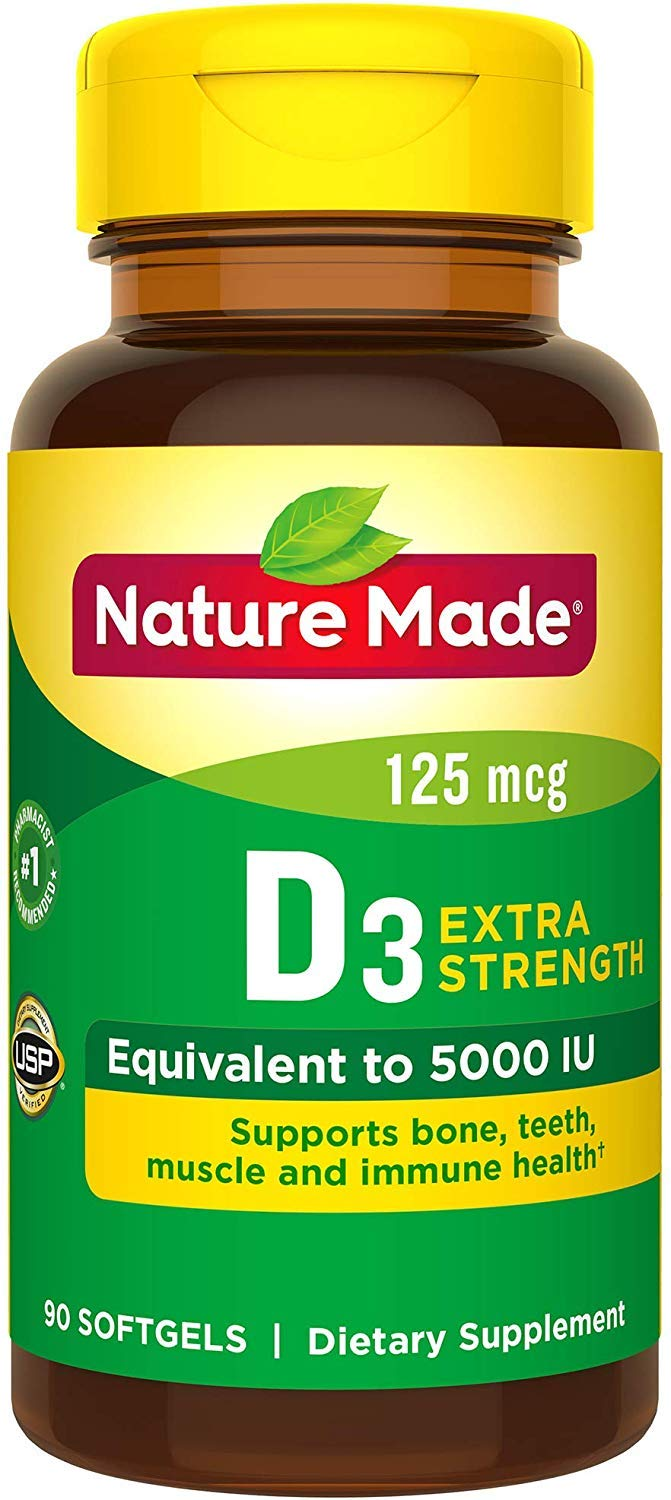 Nature Made Extra Strength Vitamin D 125 mcg (5000 IU) Softgels, 180 Count Value Size for Bone Health (Packaging May Vary) 2-Pack