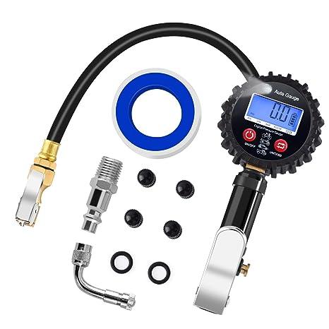PullPritt Manómetro de Neumáticos, 200 PSI Manómetro Digital con Pantalla LCD Extensor de Válvula de