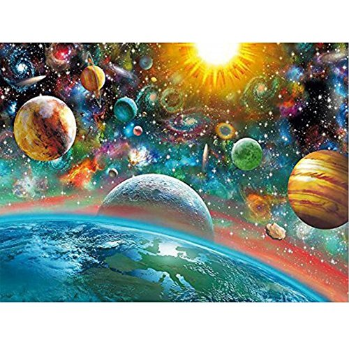 MXJSUA 5D DIY Diamond Painting Kit by Number Full Drill Round Beads Crystal Rhinestone Embroidery Cross Stitch Picture Supplies Arts Craft Wall Sticker Decor-Universe Planet 12x16in