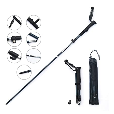 Ultralight Trekking Pole, Zenph Carbon Fiber and Aluminium alloy Foldable Trekking Pole, Anti Shock Walking Trekking Trail Poles for Hiking, Camping 1 Pack