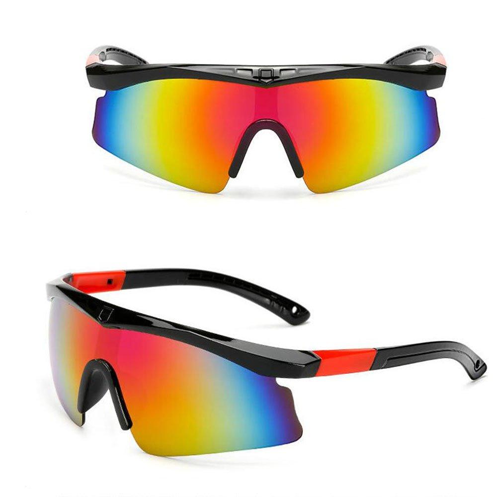 miyomie スポーツサングラス サイクリンググラス メンズ レディース ユース ランニング サイクリング 野球 釣り ゴルフ ソフトボール ドライビング 100% UV保護  ブラックーレッド B07FFQ38QF