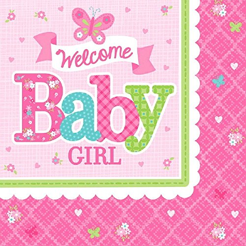 Amscan Appealing Welcome Little One Girl Luncheon Napkins Baby Shower Party Supplies, 16 2-Ply Napkins