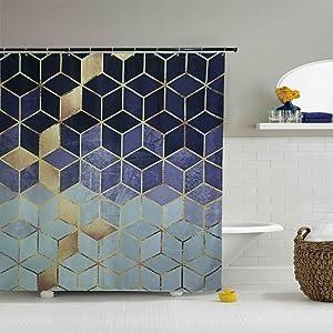 YoKII Geometric Fabric Shower Curtain, Ombre Blue Cubes Gold Like Print Diamond Polyester Bath Curtain Set, 71-Inch Spa Hotel Heavy Weighted Bathroom Decor Curtains (72 x 72, Blue)