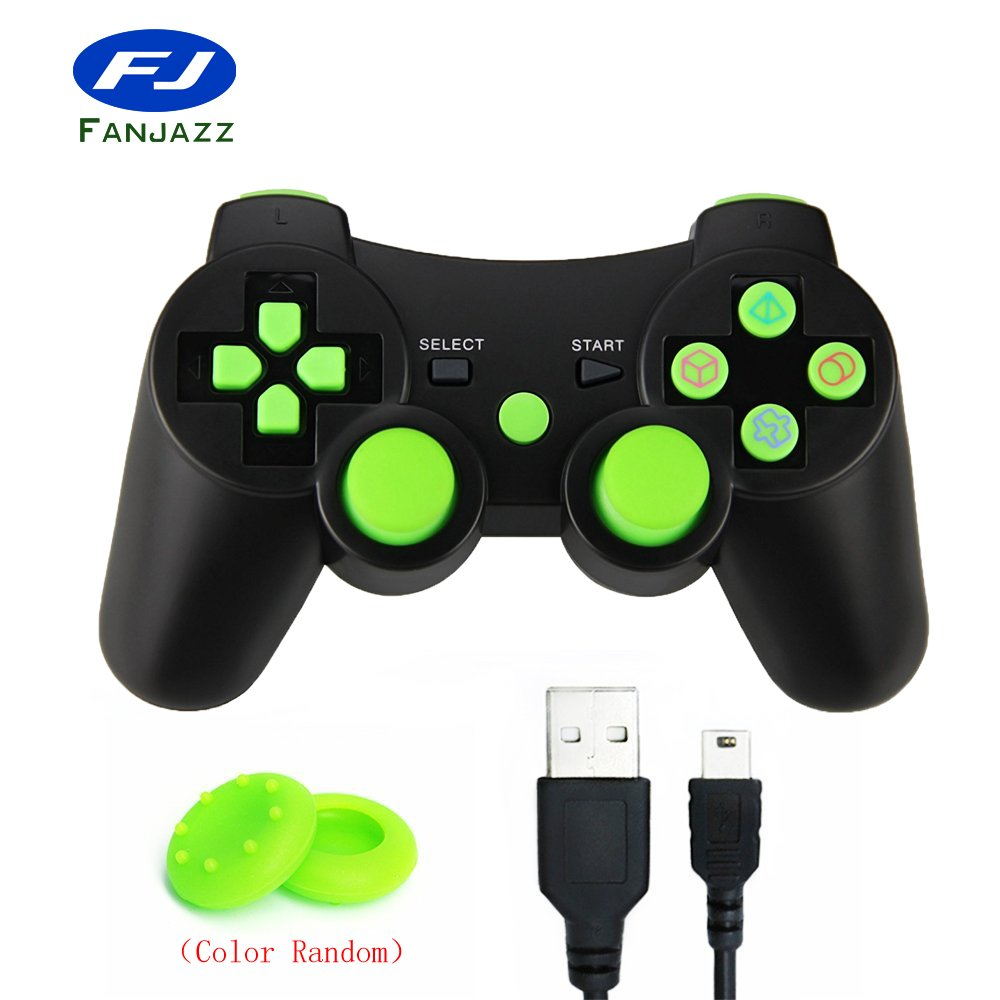 Wireless Bluetooth Controller for PS3,FanJazz Premium Double Shock Gamepad Sixaxis Remote Joystick for PlayStation 3 Black&Green