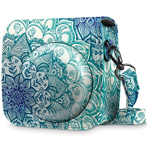 Fintie Protective Case for Fujifilm Instax Mini 8 Mini 8+ Mini 9 Instant Camera - Premium Vegan Leather Bag Cover with Removable Strap, Emerald Illusions (Official Micklyn Le Feuvre Product.) ()