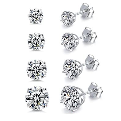 a3e14fc6b Sterling Silver Cubic Zirconia CZ Stud Earrings Round Cut 3mm 4mm 5mm 6mm  Clear Crystal for