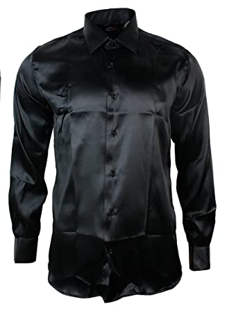 Mens Italian Design Black Silk Satin Finish Shirt Smart Slim Fit ...