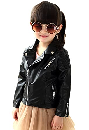 eb7dfc95ccd3 Amazon.com  Baby Girl s Spring Autumn Motorcycle Jackets PU Leather ...
