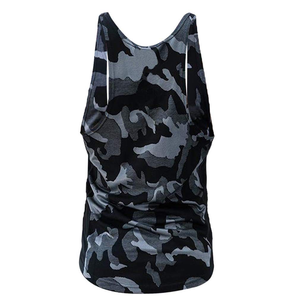 M, Gray Haeeoo Men Camouflage Stripe Sports Vest Striped Splice Large Open-Forked Male Vest