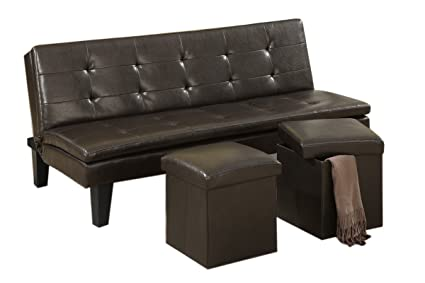 Poundex F7199 Sofa Ajustable, Incluye 2 Taburetes, color Espresso ...