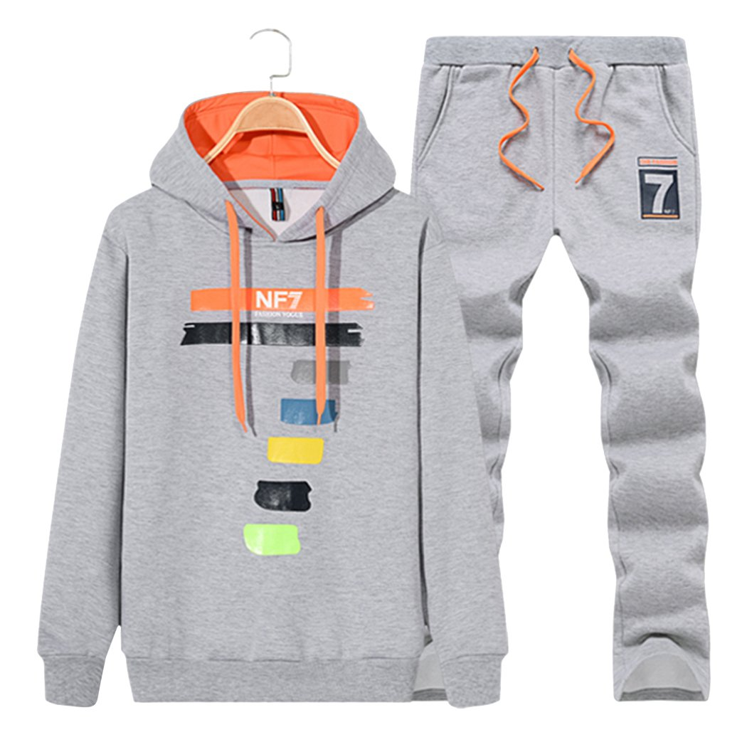 Sun Lorence Boy's Casual Print Pullover Hoodie Active Sweat Suit Sport Tracksuit Set 6603830629072