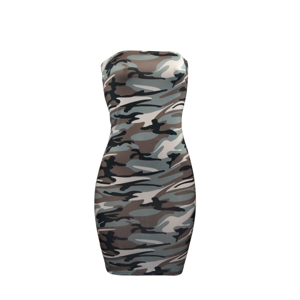 b7b29daf392bc Women Sexy Bodycon Off Shoulder Sleeveless Camouflage Tube Skirt Club  Cocktail Tight Short Mini Dress at Amazon Women's Clothing store: