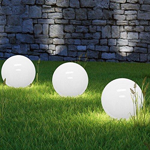 3 x LED Solarkugel Marla Solarleuchte Gartenleuchte mit Erdspieß, Durchmesser 15 cm, Kugelleuchte Gartenkugel