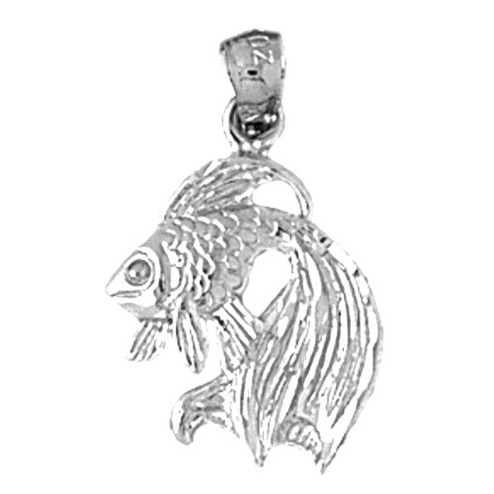 Jewels Obsession Angelfish Necklace Rhodium-plated 925 Silver Angelfish Pendant with 24 Necklace