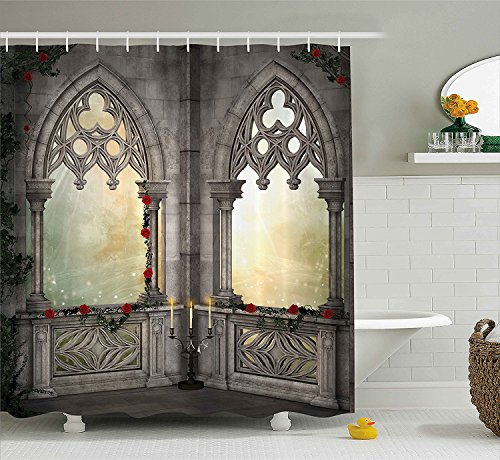 [Gothic Decor Shower Curtain Vintage Ottoman Palace Balcony for Sultans with Red Rose Flowers Ivy Terrace Image Fabric Bathroom Decor Set with Hooks] (Camper Gothic Costumes)