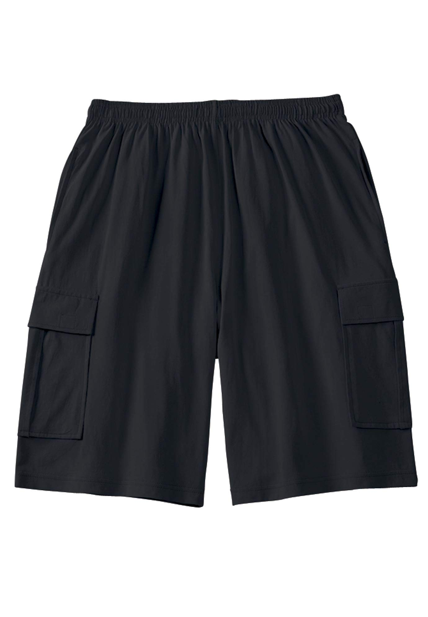 KingSize Men's Big & Tall Jersey Cargo Shorts, Black Big-3XL