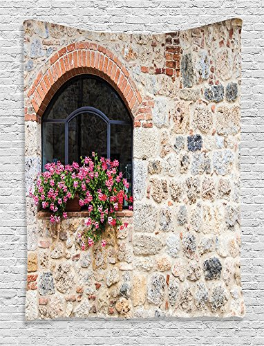 Cheap  Ambesonne Tuscan Decor Collection, Gothic Architecture Abandoned Old Stone House and Vintage..