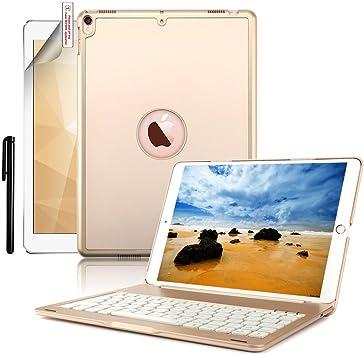 Funda de teclado iPad Air 2, Boriyuan 7 Color Folio retroiluminado Colorido funda de teclado Bluetooth multifunción para iPad Air 2 2014 Nuevo 9.7 ...