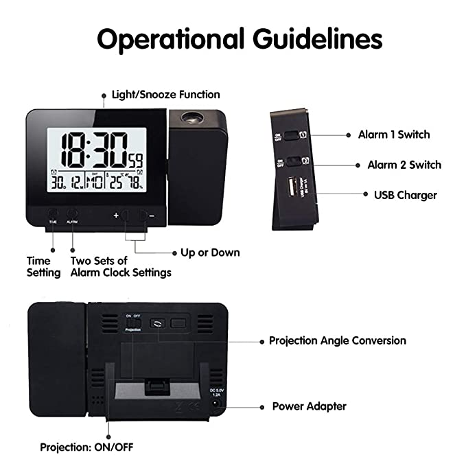 Amazon.com: Amazqi Smart Digital Alarm Clock, Dual Alarm ...