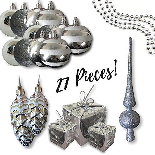 Silver Christmas Decorations - Set of 27 Assorted Shapes - Christmas Balls, Small Silver Presents and Shiny Pine Cones with White Glitter - 1 Silver Glitter Tree Topper (Ornament Pinecone Shatterproof)