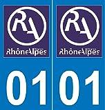 2 Autocollants Plaque Immatriculation Auto Département 01 Rhône-Alpes Nouveau Logo
