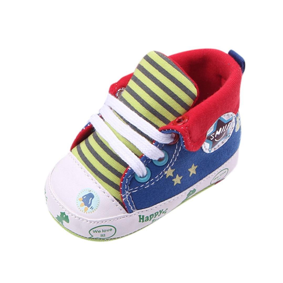 JERFER Babyschuhe Baby Mädchen oder Jungen Canvas Schuh Sneaker Rutschfest Weiche Sohle Kleinkind Leinenschuhe Krippe Schuhe(3~12 Monate)