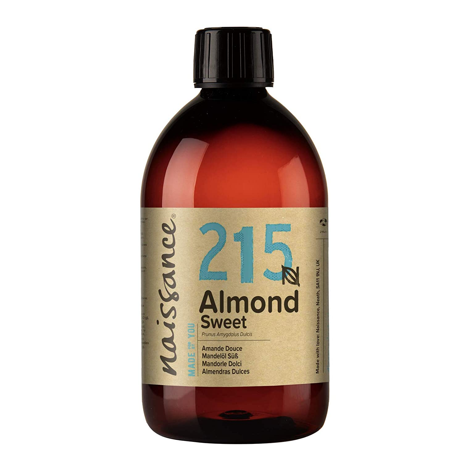 Naissance Sweet Almond Oil 16 fl oz - Pure & Natural, Vegan, Non GMO, Hexane Free, Cruelty Free - Ideal for Haircare and Skincare, Aromatherapy & Massage