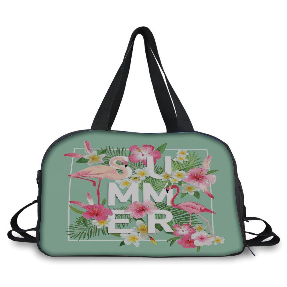 iPrint Travel handbag,Floral Decor,Tropical Flower with Flamingos Retro Wedding Romance Petals Graphic Art,Mint Green Pink ,Personalized