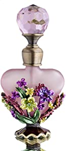 YU FENG Refillable Vintage Glass Perfume Bottle Blossom Style Crystal Top Empty Decorative Bottles(Pink)