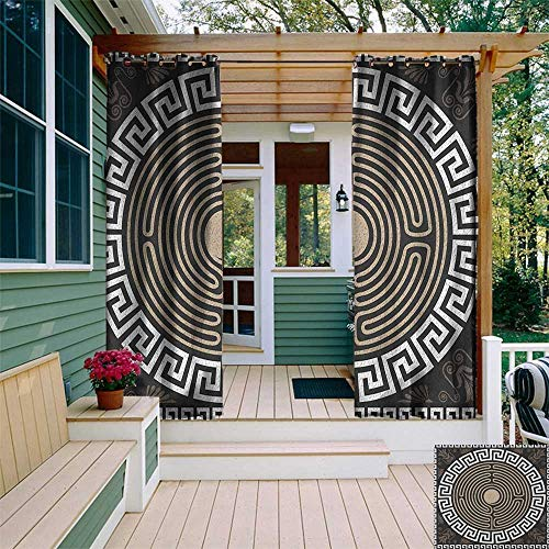 leinuoyi Greek Key, Outdoor Curtain of Lights, Grecian Fret and Wave Pattern on Dark Background Antique Retro Swirls, Outdoor Privacy Porch Curtains W84 x L96 Inch Dark Brown Coconut Tan