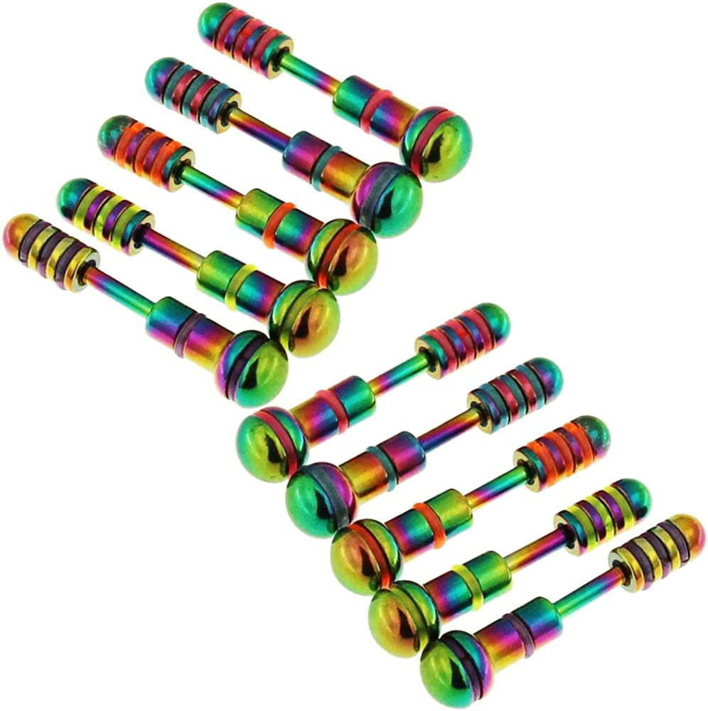 10 Pieces Pack Rainbow Baton and Dumbbell Surgical Steel Fake Ear Plugs