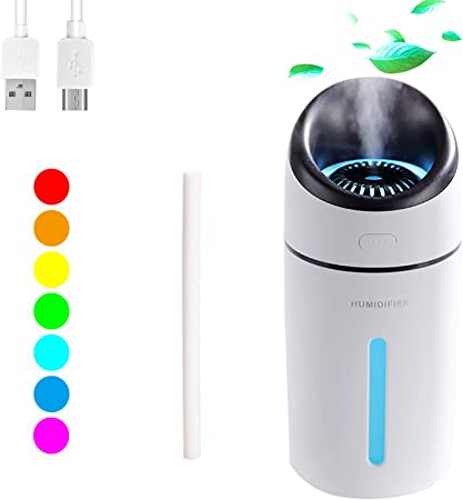 Dricar Portable USB Humidifier, 320ml Mini Cool Mist Humidifier with 7 Colors LED Night Light, Auto Shut Off, Quiet Operation Air Humidifier for Desk