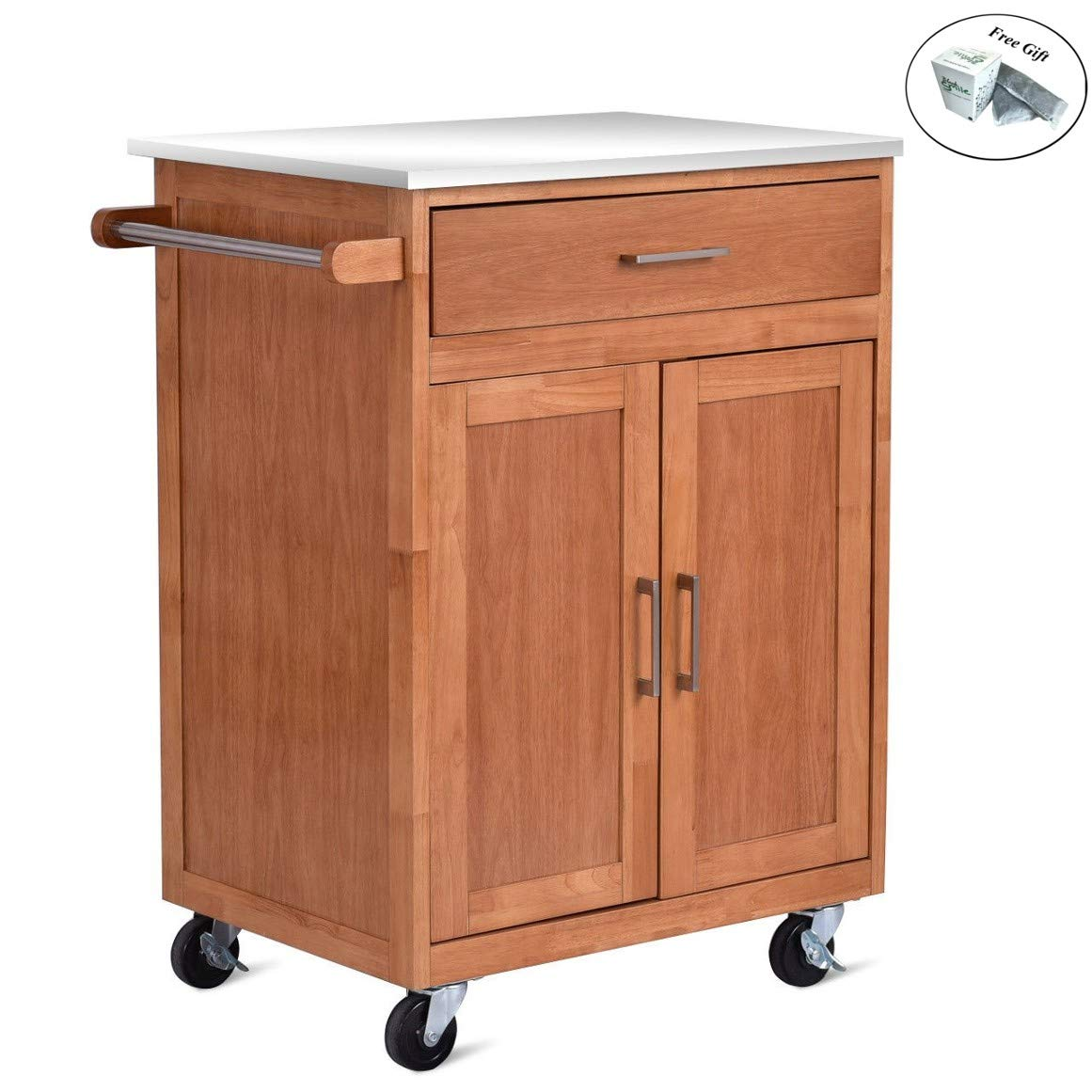 Amazon com cwy wooden kitchen rolling storage cabinet with stainless steel top only by eight24hours kitchen islands carts