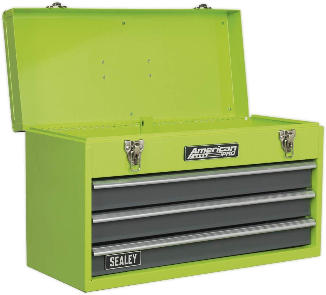 Sealey ap9243bbhv herramienta portátil con 3cajones en el pecho con rodamiento de bolas de diapositivas–de alta visibilidad verde