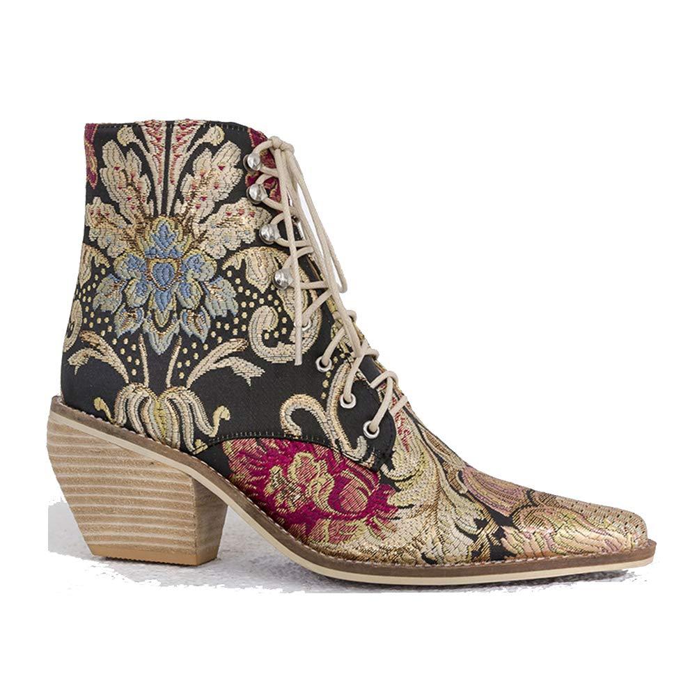 LEFT&RIGHT damen Block Heels Schuhe Chelsea Stiefel handgemacht Besteickte Pointed Toe Ankle Lace Up Chelsea Stiefel Ankle Stiefel