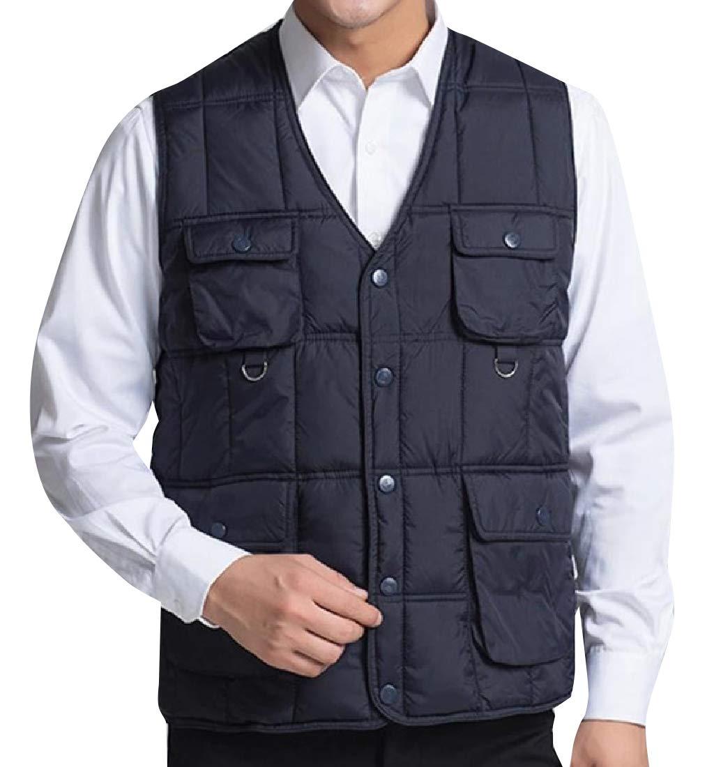 Cobama Men's Plus-Size Multi-Pockets Journalist Thermal Puffy Vest