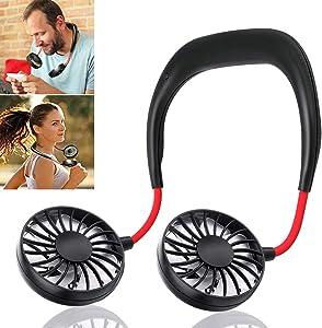Hand Free Personal Fan - Portable USB Battery Rechargeable Mini Fan - Headphone Design Wearable Neckband Fan Necklance Fan Cooler Fan with Dual Wind Head for Traveling Outdoor Office Room (Black)
