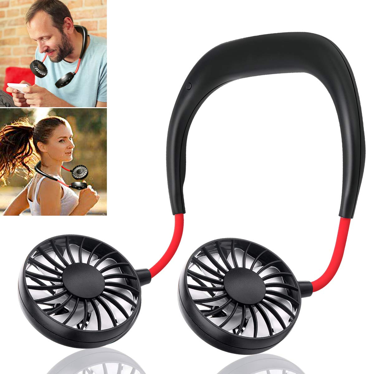 Hand Free Personal Fan - Portable USB Battery Rechargeable Mini Fan - Headphone Design Wearable Neckband Fan Necklance Fan Cooler Fan with Dual Wind Head for Traveling Outdoor Office Room (Black) by OPOLEMIN