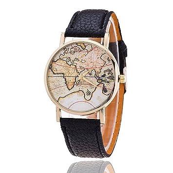 FENKOO Unisex Mapa del Mundo Style Watch/jahrgang/Antiguo Tarjeta de Mundo Mapa del